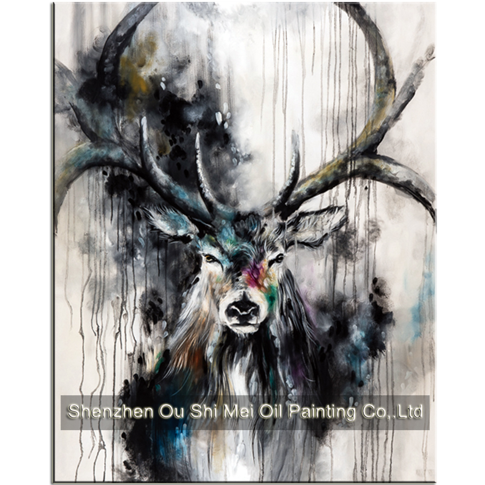 Online shop new 100hand painted beautiful black white deer paintings inky color antler animals oil painting on canvas for living room decor aliexpress