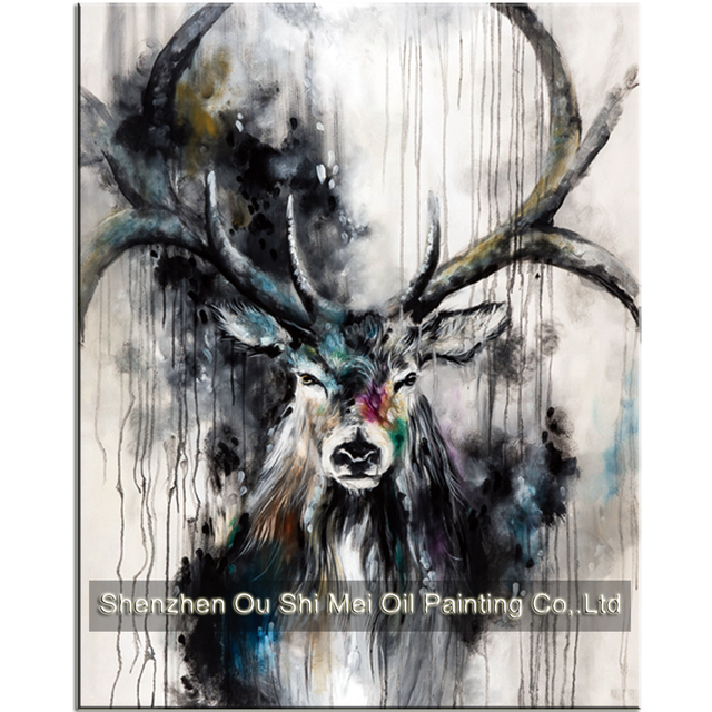 New 100 Hand Painted Beautiful Black White Deer Paintings Inky Color Antler Animals Oil Painting On Canvas For Living Room Decor