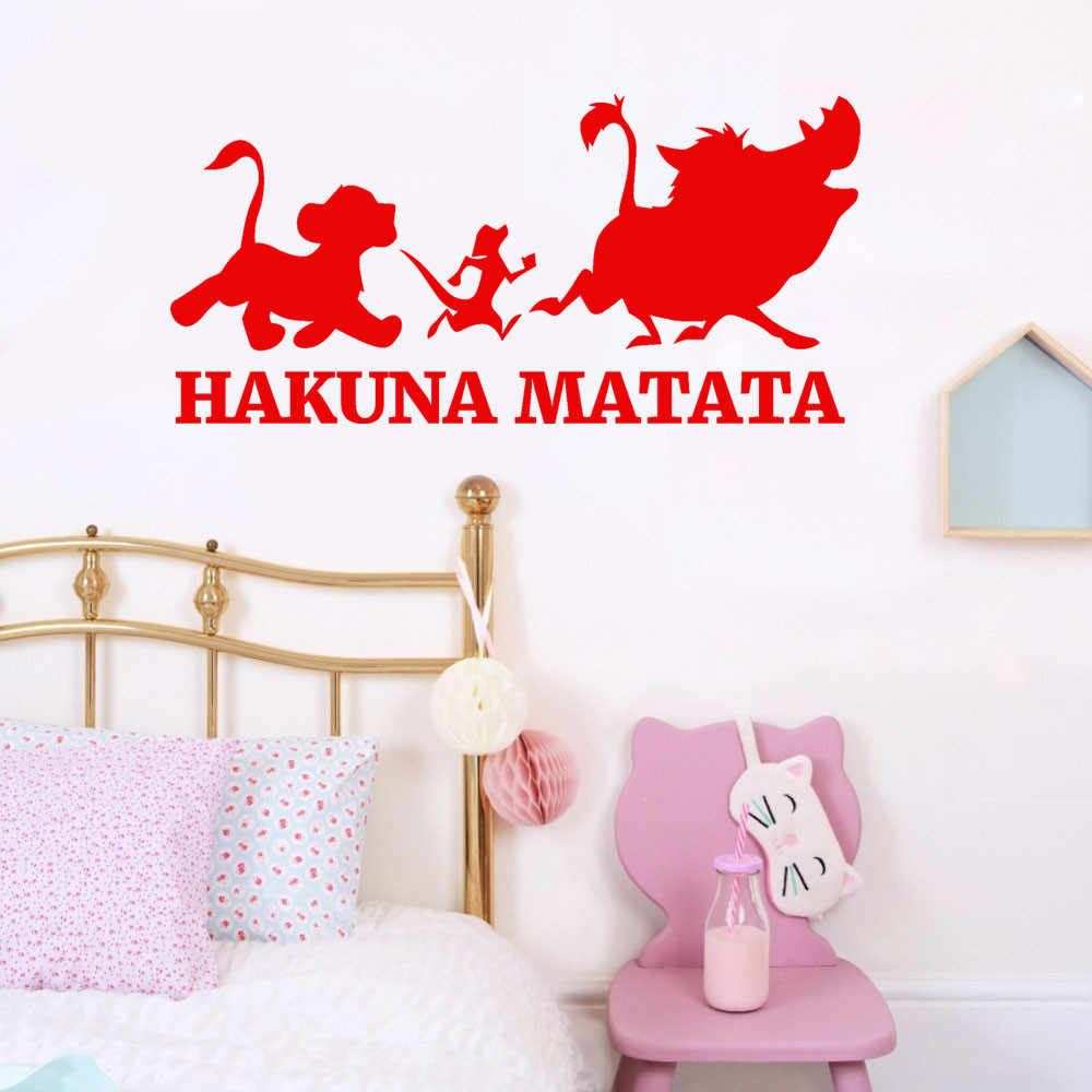 The Lion King saying: Hakuna Matata No Worry quote wall decals decorative home declas removable vinyl wall art stickers 18Oct