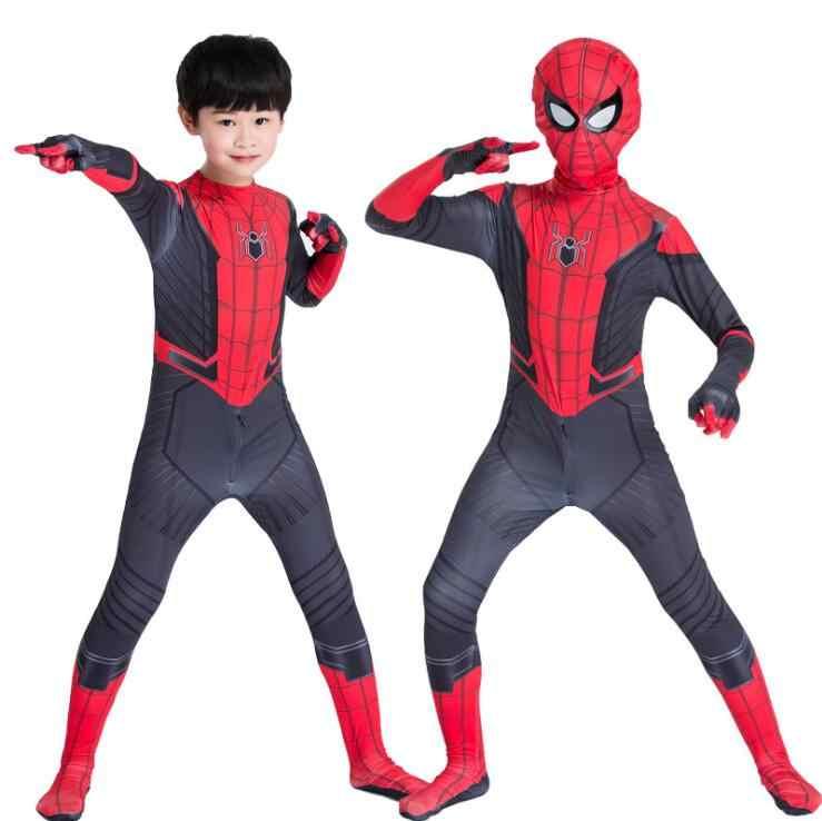 Homem Aranha crianças Longe de Casa Peter Parker Cosplay Zentai Spiderman Superhero Bodysuit Macacões Terno Traje de Halloween
