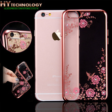 Transparente Bling Diamante Chapeamento de Cristal Flor TPU Soft Case Para Apple iphone 6 s 6 7 plus 5S se 5 tampas do telefone de borracha casos