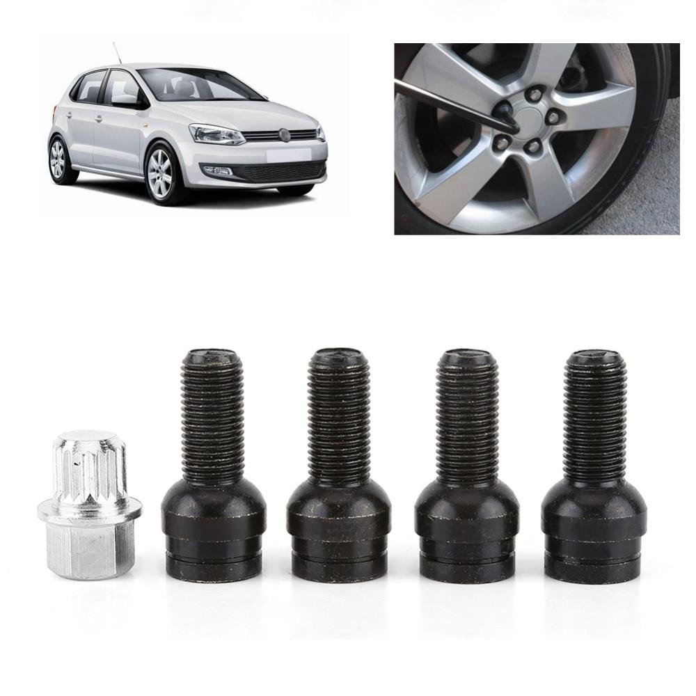 4+1 M14*1.5MM Black Steel Wheel Bolt & Lock Lug Nut Set With Key For Audi VW Golf Jetta Car Accessories