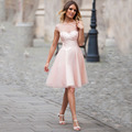 Fantasy Pink Cap Sleeve Collar Short Tulle Party Dress Transparent Sheer Hollow Back Cocktail Dresses 2016
