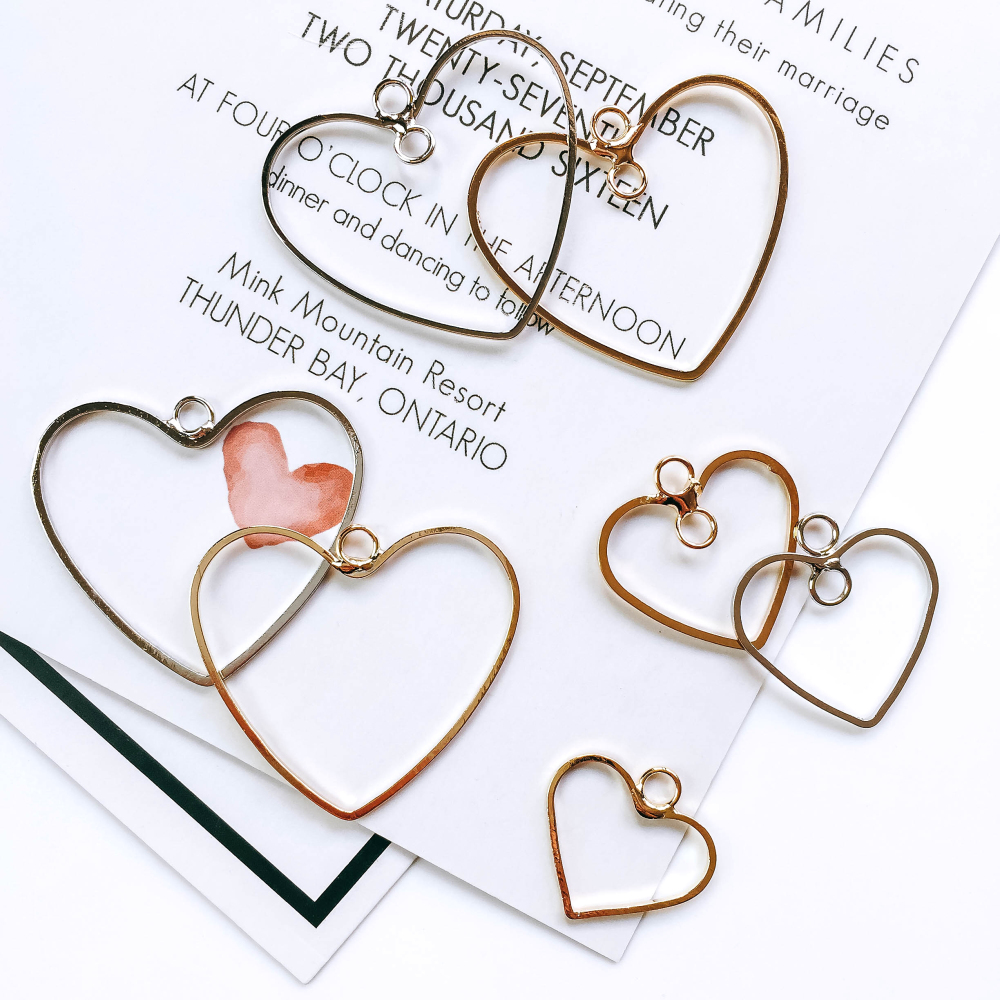 ZEROUP Minimalist Heart Shape Ear Drop Gold Silver Plated Pendant Necklace Charms Jewelry Component Diy Handmade Material 6pcs