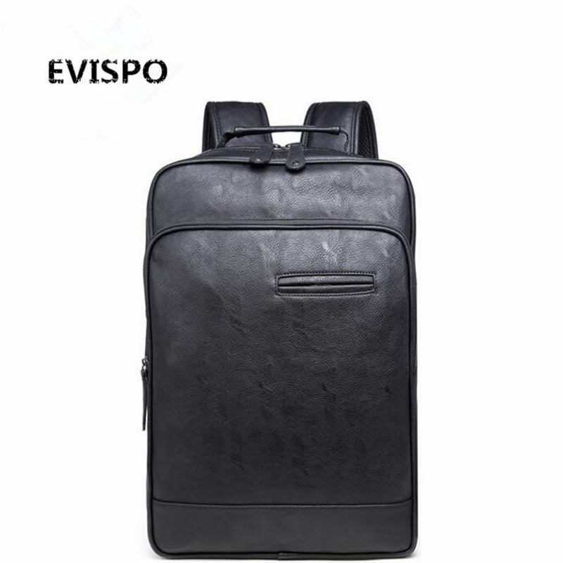 ФОТО EVISPO Large Capacity Cool Black Leather Men Backpack Promotion Solid Black Mens Laptop Backpack Leather Backpack mochila