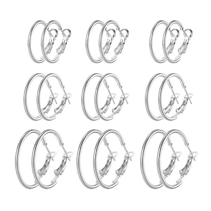 9 Pairs/Set New Fashion Trendy Round Rock Punk Earrings