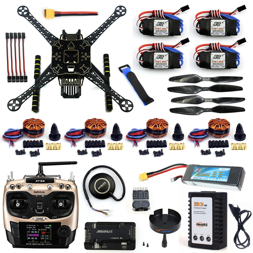 DIY Unassembled 4 Axle RC FPV Drone S600 Frame Kit with APM 2.8 No Compass 700KV Motor 40A ESC Battery Charger AT9S TX F19457-H