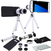Tripé óptico telescópio lente 12x  3 lentes  kit de lente automática para samsung galaxy s9  peça s7 s8 s6 edge plus