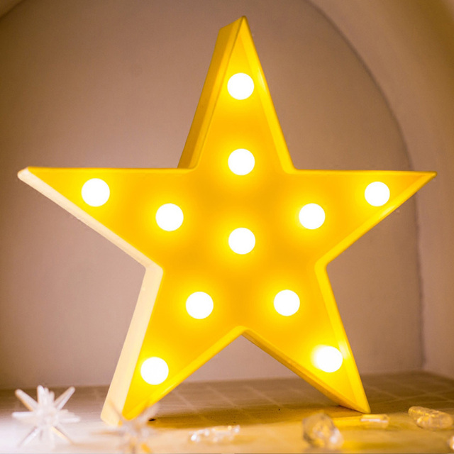 Five Pointed Star Shaped Fairy Nightlight Abs Plastic Table Desk