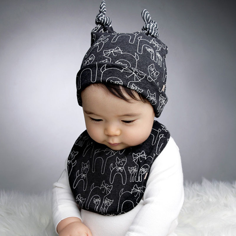 Accessories 2pcs/set Baby Hat & Bib Cute Cartoon Cat Cap+towel Cotton Kids Hat Bibs Saliva Boys Girls Spring And Autumn Hedging Cap To Assure Years Of Trouble-Free Service