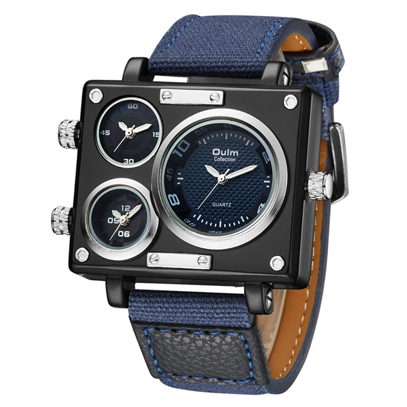 Oulm Fabric Strap Male Square Watch s