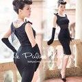 FREE SHIPPING Le Palais Vintage 2016 Summer New Elgant Sexy Hepburn Style Lace Fake Girdle Black Slim Modal Dress Women Clothing
