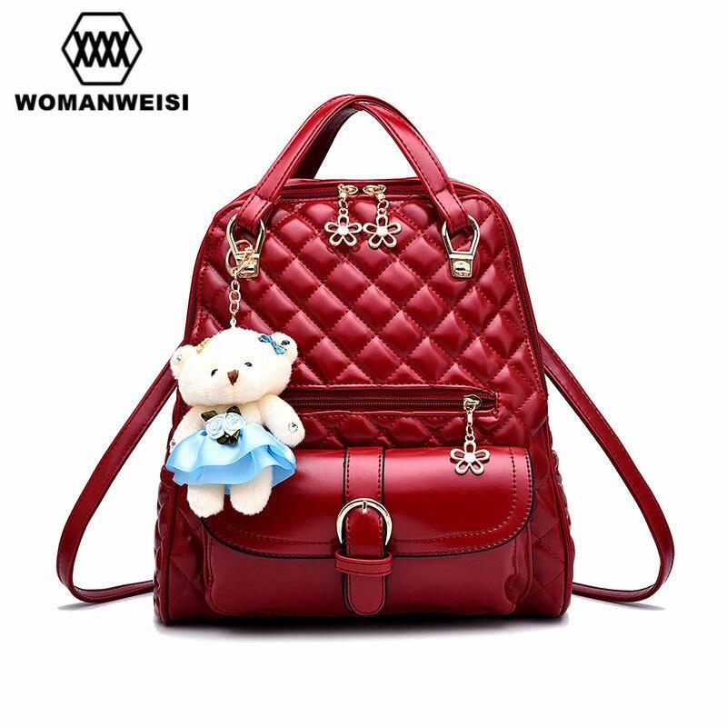 Lovely Bear School Bags For Teenagers Fashion Brand Women Backpack Classic Geometric Design Female Backpacks Mochila Escolar