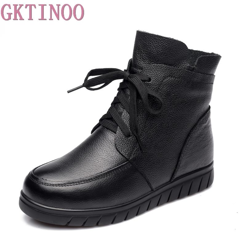 Winter Warm Women Shoes Woman Genuine Leather Flat Ankle Boots Female Lace-up Snow Boots Women Boots