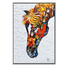 Hand painted thick textured horse Oil Painting on Canvas brown modern animal head knife wall art picture Living Room