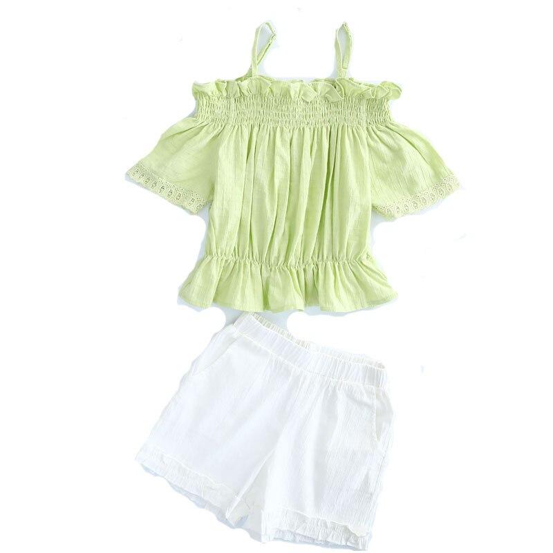 girls clothes Girls summer new suit word shoulder off shoulder short sleeve shirt side pocket casual shorts girls suit in Clothing Sets from Mother Kids