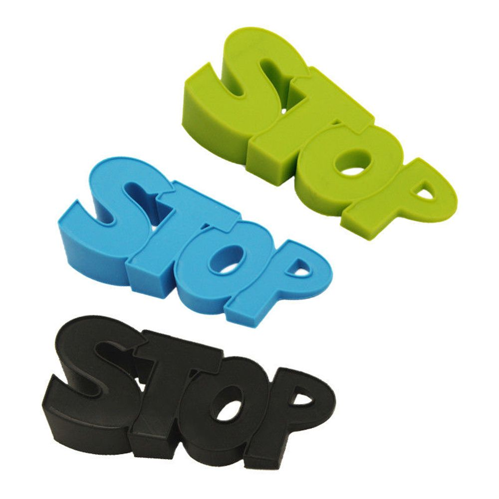 High Quality Cute Practical Stopper Silicone STOP Shaped Decor Door Stop Wedge Protection Baby Guard