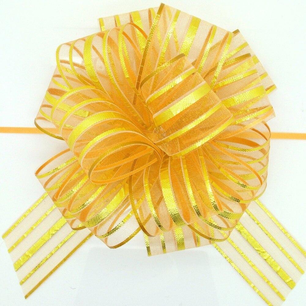 Fita de tração de arco de organza, 5 pçs/lote grande, para artesanato, decoração de casamento, embalagem de presente de ouro 50mm lh09