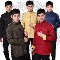 Long Sleeve Two Sided Silks And Satins Tang Suit Tops Men Tai Chi Kung Fu Uniform