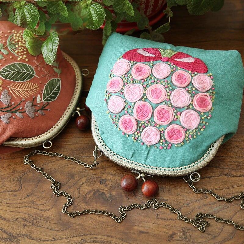 Ручная вышивка рот Золотая сумка DIY материал сумка в европейском стиле трехмерный чековый карман креативный подарок straddle сумка