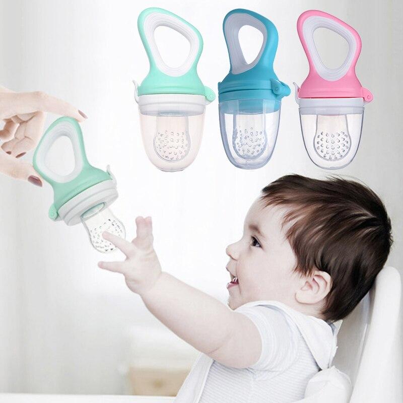 New 48Pcs Baby Nipple Food Feeder Silicone Pacifier Feeding Bottles Tool Kids Mesh Teeth Bite Bag Fruit Supplies 3 Color