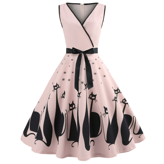 Kenancy Audrey Hepburn 1960s Party Dress Sexy V Neck Sleeveless Belts Women Retro Dress Cat Print Rockabilly Swing Vestidos Robe