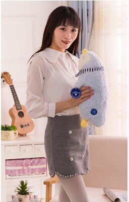 small cute plush lying scarf penguin toy new blue penguin doll gift about 45cm 2667