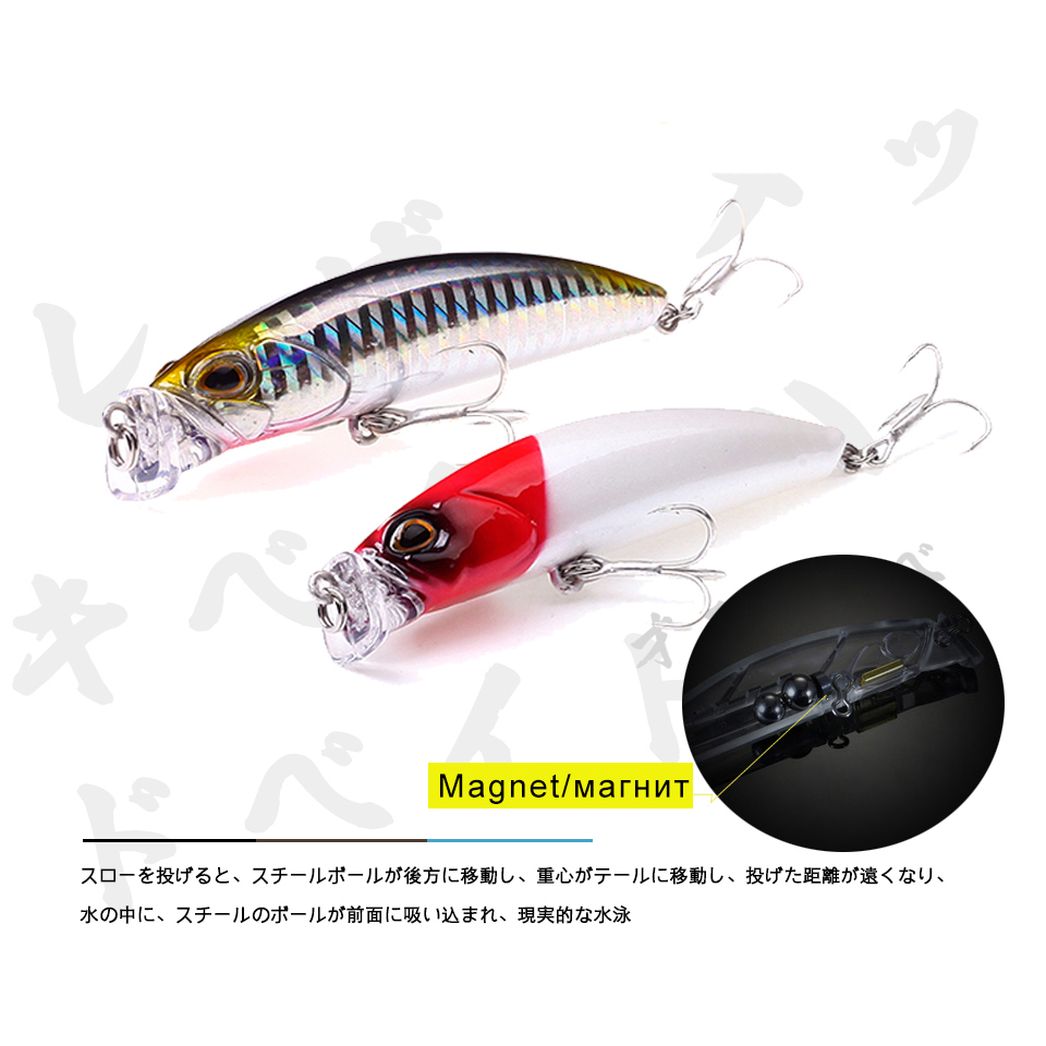 7.5cm 10g Magnet Weight System Topwater Floating Fishing Lures TERRIF BULLET Hard Swim Fish Bait Wobblers Fishing Popper