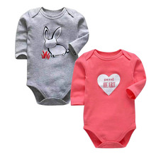 2 pcs/set Tender Babies Baby bodysuit newborn babysuit unisex style long sleeve baby clothes cotton overall suit