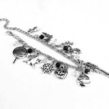 Nightmare Before Christmas Jack Skellington Sally Bracelet Gothic Alloy Hand Chain Silver Bracelet pendant Charm Gift