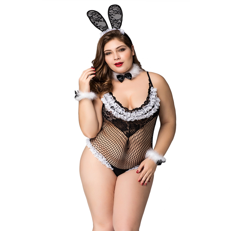 Plus size sexy bunny costumes Fishnet see through bunny uniform outfit female lingerie set With all accessories P71103