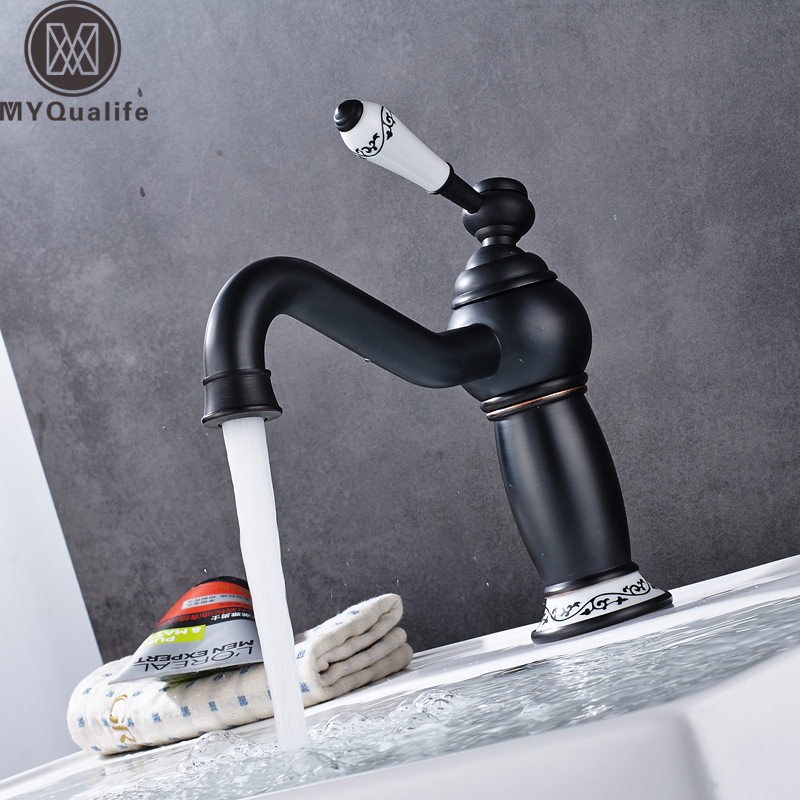 Free Shipping Bathroom Vanity Sink Faucet One Handle Black long Swivel Spout Washing Basin Tap with Hot and cold Water free shipping wholesale and retail water tap black antique brass bathroom basin faucet tap swivel spout vanity sink mixer