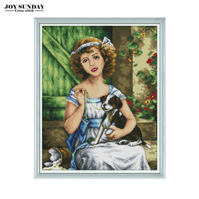 Cross Stitch Patterns DIY Needlework Aida Fabric 14ct 11ct Canvas Embroidery DMC Kit Girl with The Dog Wall Painting