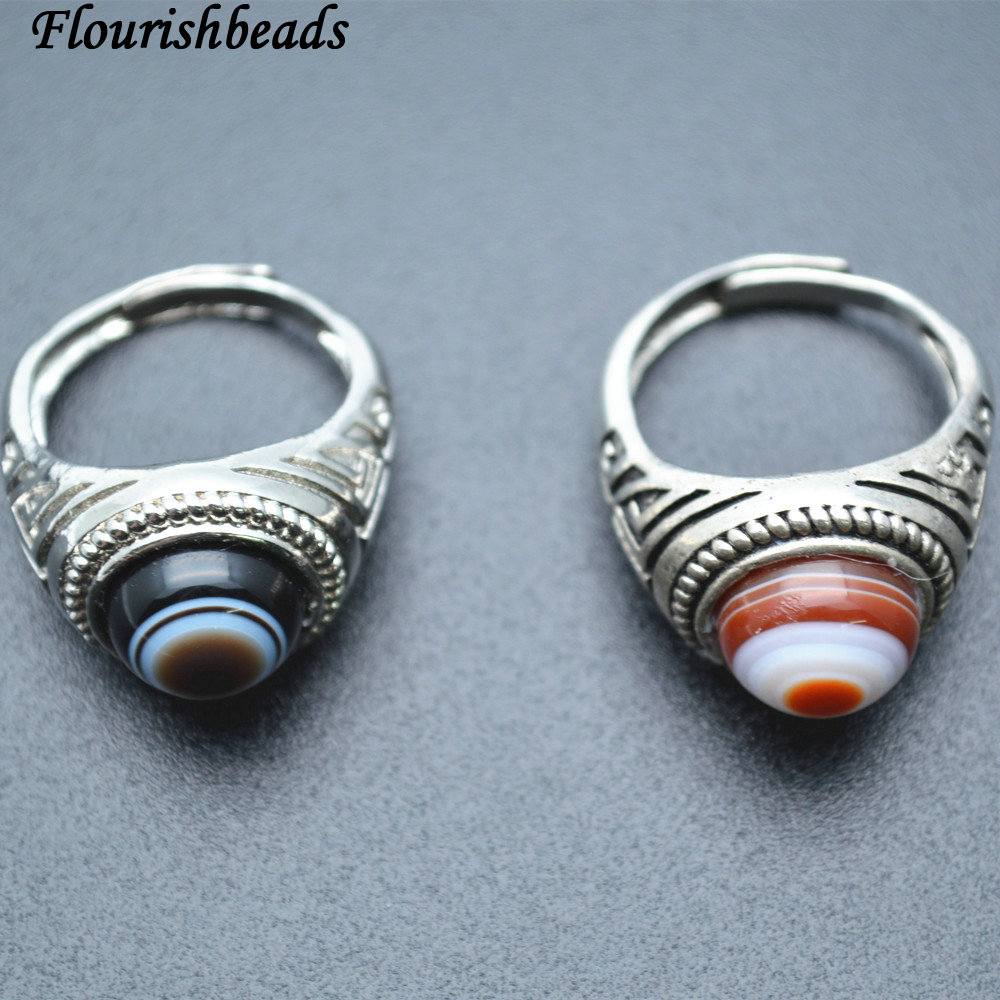 "Natural Gamstone Coffee Dzi  Tibet Agate Jewelry Making Loose Evil Eye Beads 15/"""