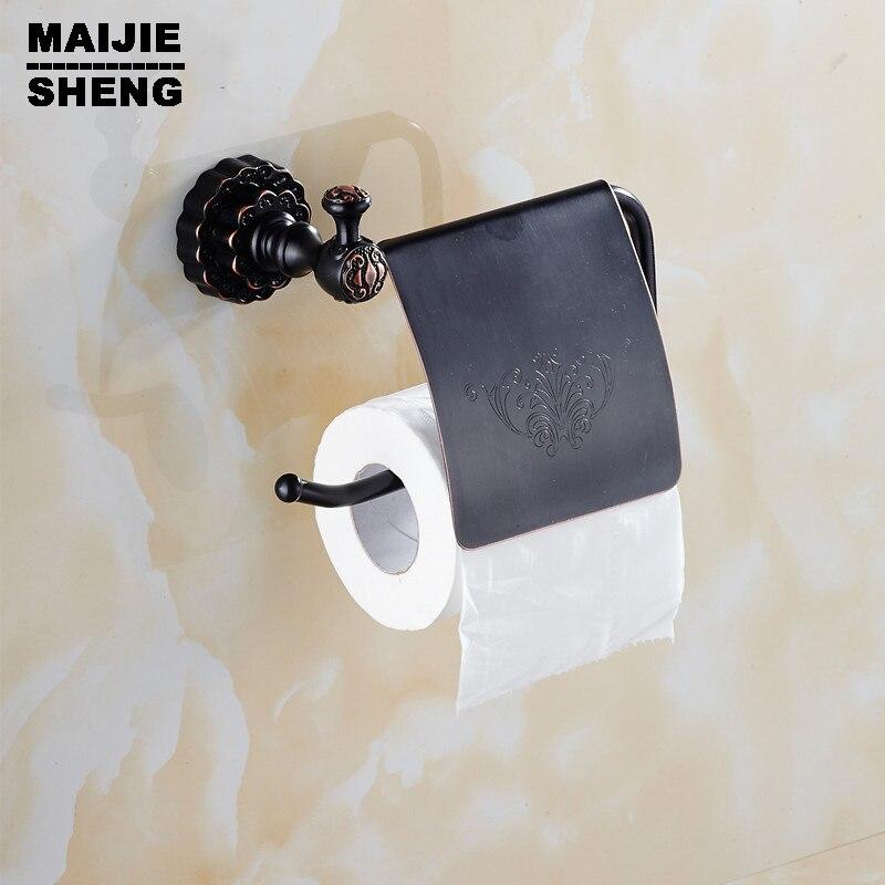 black wall paper basket hanger Bathroom antique brass paper holder coper paper shelf rack toilet roll holder antique brass luxury bathroom accessory paper holder toilet brush rack commodity basket shelf soap dish towel ring
