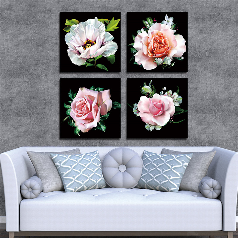 Lærredsmaleri Moderne kunst Oljemaling Modulær roseblomstbilleder - Indretning af hjemmet - Foto 1