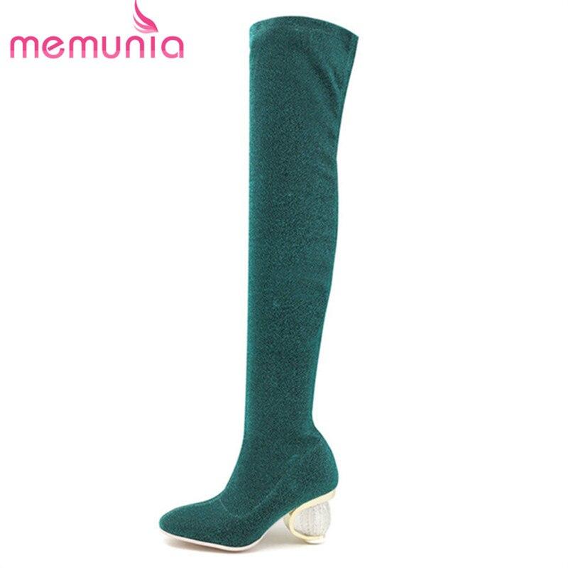 Au Bottes Haute Bout 2018 Blue green rouge Élégant Automne Genou Rond Date Sur Femme or Slip Talons Chaussette Memunia Chaussures Les Longues W6Baag