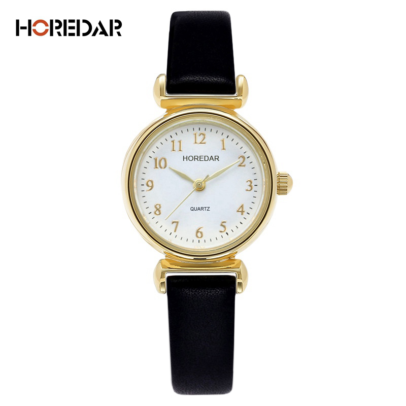 HOREDAR Retro Gold Small Dial Women Watches Luxury Top Brand Simple Quartz Watch Ladies gift relojes hombre 2017 Montre Femme cartoon gold horse print blue leather strap sports ladies quartz watch relojes hombre 2017 bayan saat women watches hodinky b133