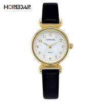 HOREDAR Elegant Small Dial Dress Watches Women Luxury Gold Case Quartz Watch Fashion Ladies Bracelet Wristwatch