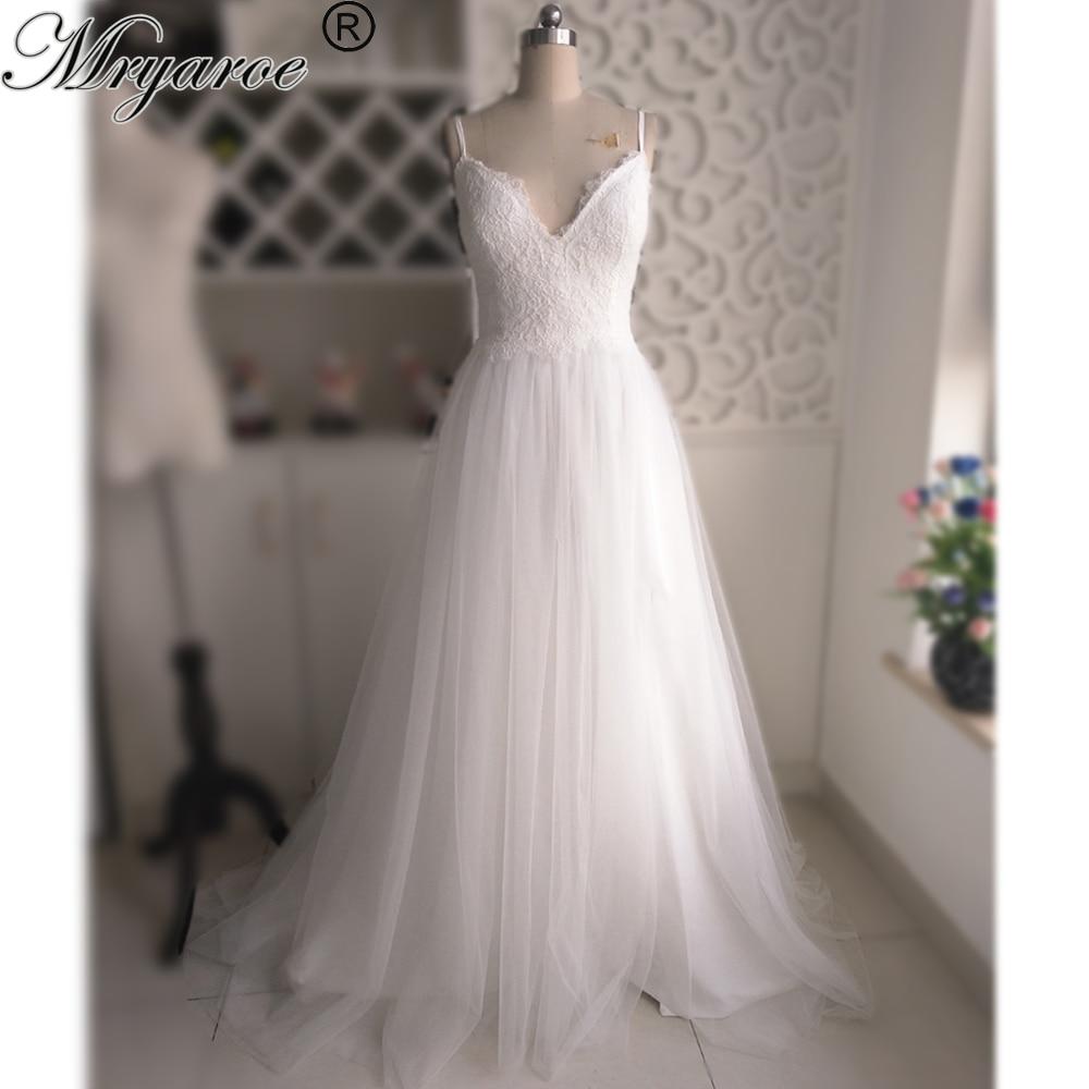 1d7fcd6e01 Mryarce Beach Wedding Dress Spaghetti Straps Lace Bodice Tulle A Line Side  Slit Dresses Simple Elegant Open Back Bridal Gowns