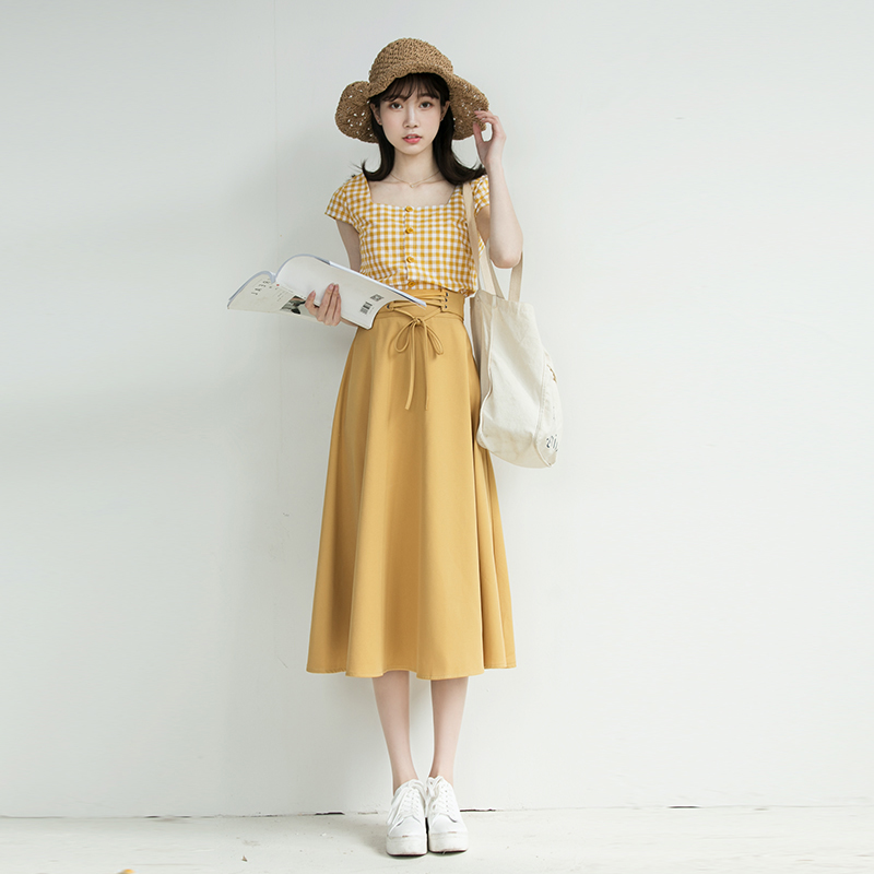 Chic Fashion Two-piece Casual Suits Female Summer 2018 Women Yellow Red Plaid T Shirt A Line Skirt Sets Retro Midi Skirt Suits 14