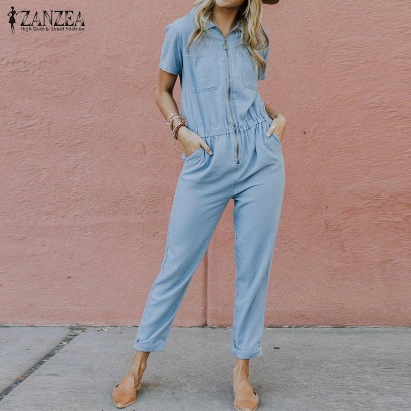 Femmes Denim combinaisons 2019 ZANZEA barboteuses Zipper pantalon élastique taille salopette jeans décontractés bleu combishorts Combinaison Femme