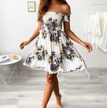 Summer Women's  Dresses Flounce Floral beach Dresses floral flounce bardot dress