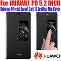 Case para huawei p8 100% original oficial smart view case llamada id cubierta del tirón del cuero para huawei p8 5.2 pulgadas + película de pantalla P82