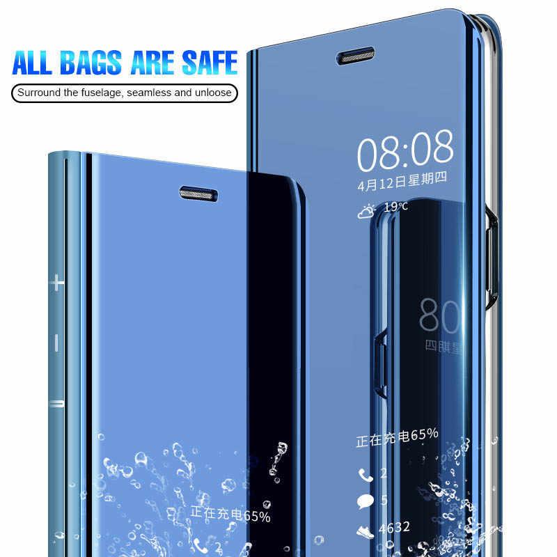 Darbeye dayanıklı 360 Tam Koruma Akıllı Kaplama Temizle Görünüm ayna standı Sert Flip case Huawei P9 P10 P20 P30 Artı Lite kapak