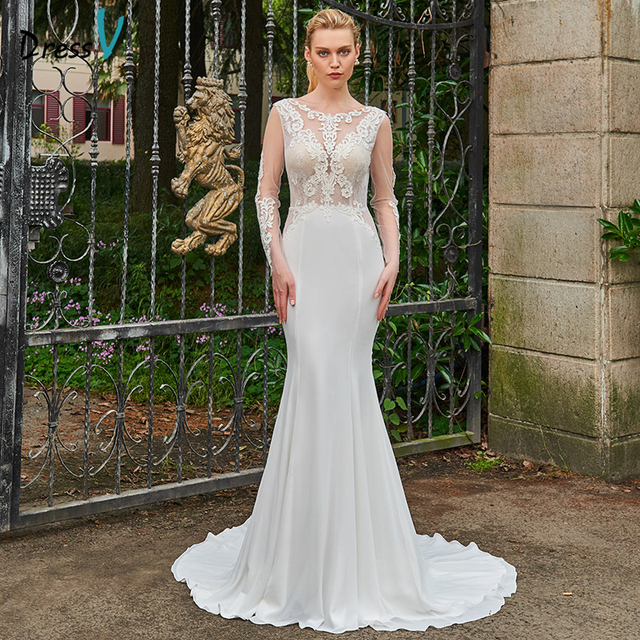 Dressv ivory wedding dress backless scoop neck long sleeves mermaid bridal  gown elegant outdoor church trumpet wedding dresses a92f75fc5453