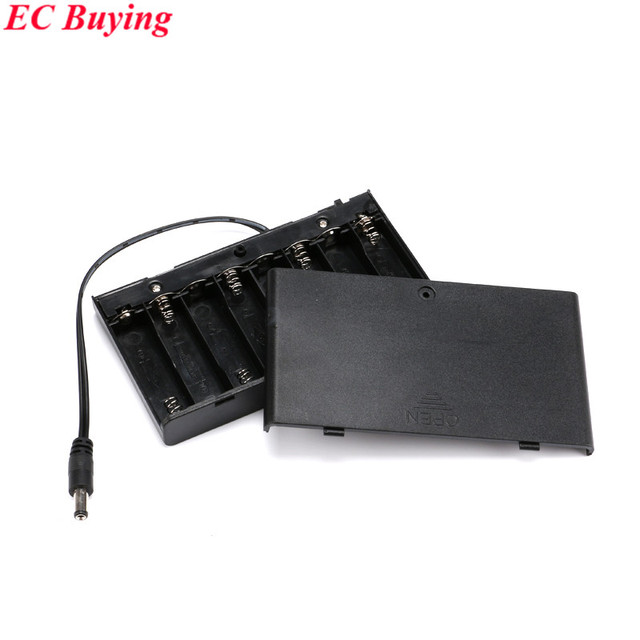 uk availability d9838 faf59 US $2.74 6% OFF|12V Battery Holder 8 x AA 1.5V Battery Box Case With ON /  OFF power switch wire lead DC Plug 12V For DIY Experiment High Quality-in  ...