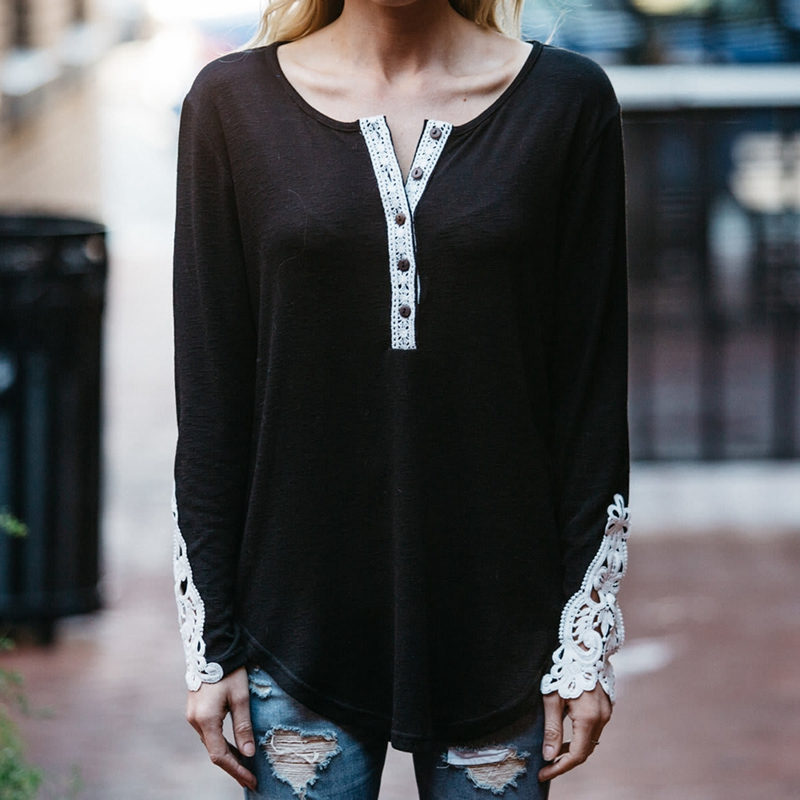 <font><b>2018</b></font> <font><b>Autumn</b></font> <font><b>Sexy</b></font> Lace Patchwork Hollow Out Round Collar Women T-Shirt Striped Loose Long Sleeve Button Casual Tops Fermale image