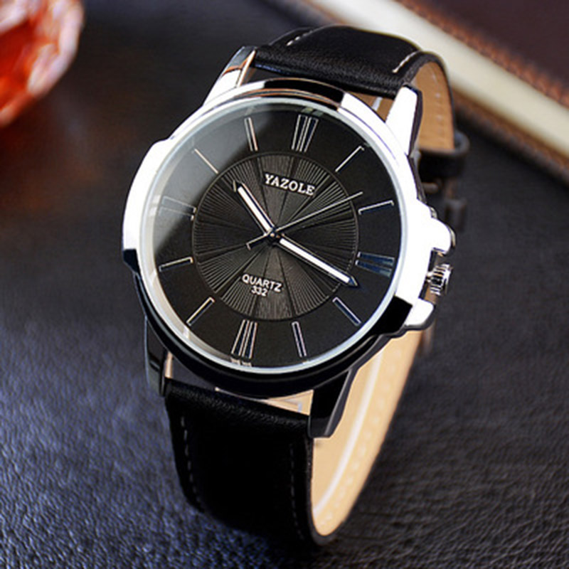 2019 New YAZOLE Mens Watches Top Brand Luxury Blue Glass Watch Men Watch Waterproof Leather Roman Men's Watch Male Clock relojes