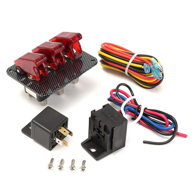 1 Set 12V Switch Car Racing On Off Aircraft Type Red LED Toggle ...